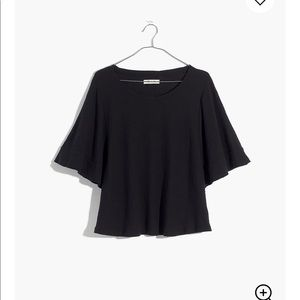 Madewell Texture and thread flutter sleeve T